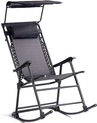 Goplus Folding Rocking Chair w/Shade Canopy