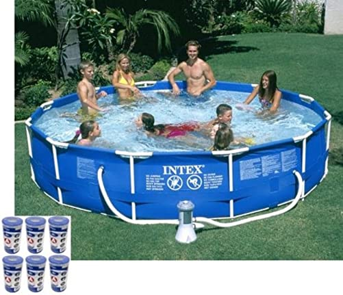 Intex 12ft x 30in Metal Frame Round Swimming Pool Set 530 GPH Pump 6 A Filter