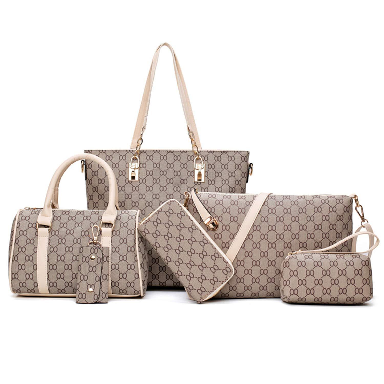 Beige Strap Women Handbags Leather Shoulder Bag Fashion Female Totes SixPiece Set