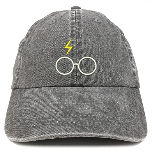 9e397062d96 Trendy Apparel Shop Harry Glasses Embroidered Washed Cotton Cap - Black