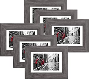 4x6 Picture Frames Wood Pattern Rustic Grey Photo Frames Packs 6 with High Definition Real Glass for Tabletop or Wall Decor