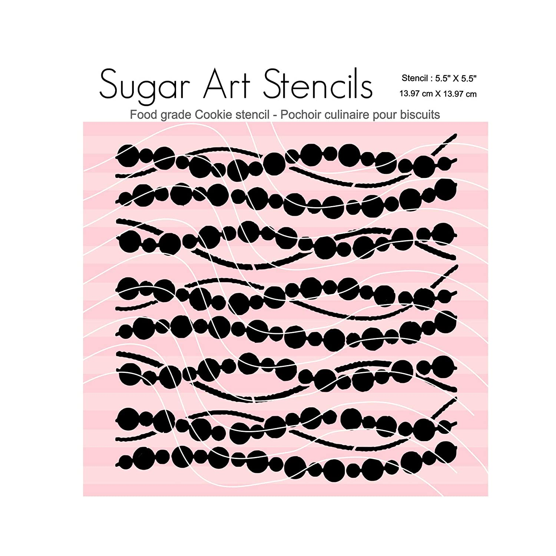 Mardi gras Pearl garland Cookie stencil pattern SA0083