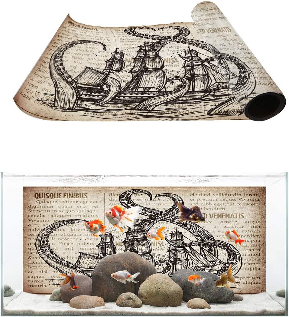 T/&H XHome Aquarium D/écor Backgrounds Vintage Old Newspaper Background Pirate Ship and Octopus Pattern Fish Tank Background Aquarium Sticker Wallpaper Decoration Picture PVC Adhesive Poster