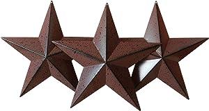 CVHOMEDECO. Country Rustic Antique Vintage Gifts Burgundy/Black Metal Barn Star Wall/Door Decor, 12-Inch, Set of 3.
