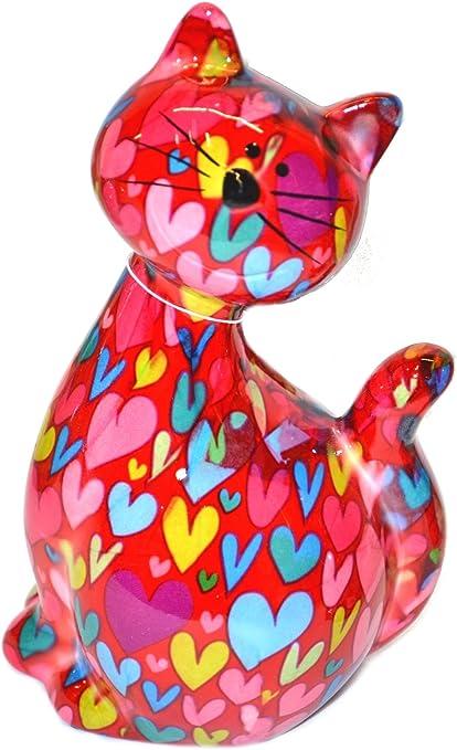 20 x 17 cm Blume rot Tirelire chat assis Caramel Pomme Pidou Tirelire en c/éramique avec des motifs animaux amusants