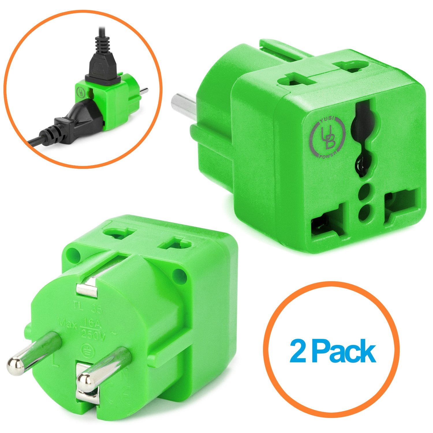 European Plug Adapter by Yubi Power 2 in 1 Universal Travel Adapter with 2 Universal Outlets - 2 Pack - Green - Shucko Type E/F for France, Germany, Spain, Sweden, Turkey, Ukraine and More! LYSB0170CMCZ6-CMPTRACCS