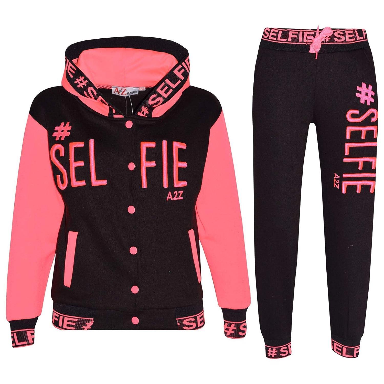 A2Z 4 Kids Ragazze Neon Rosa Tuta #Selfie Ricamato Cernierato Top Felpa con Cappuccio & Bottom Jogger Nuova età 5-13 Anni