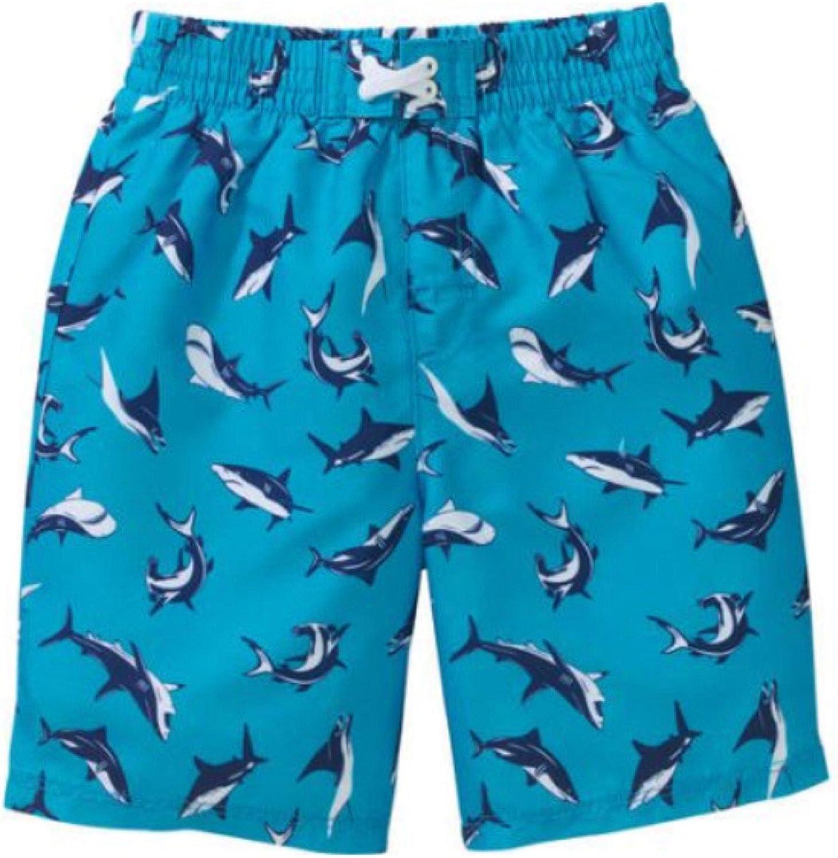 OP Toddler Boys Blue and White Shark Swim Trunks/Board Shorts