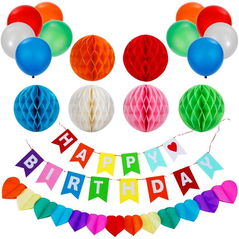 Lictin Birthday Party Decorations Favors, Happy Birthday Banner with 6 Pack Honeycomb Balls 1 Colorful Heart-shape Paper Garland and 10 Balloons, Party Supplies( Multicolor) LPD136862UK1