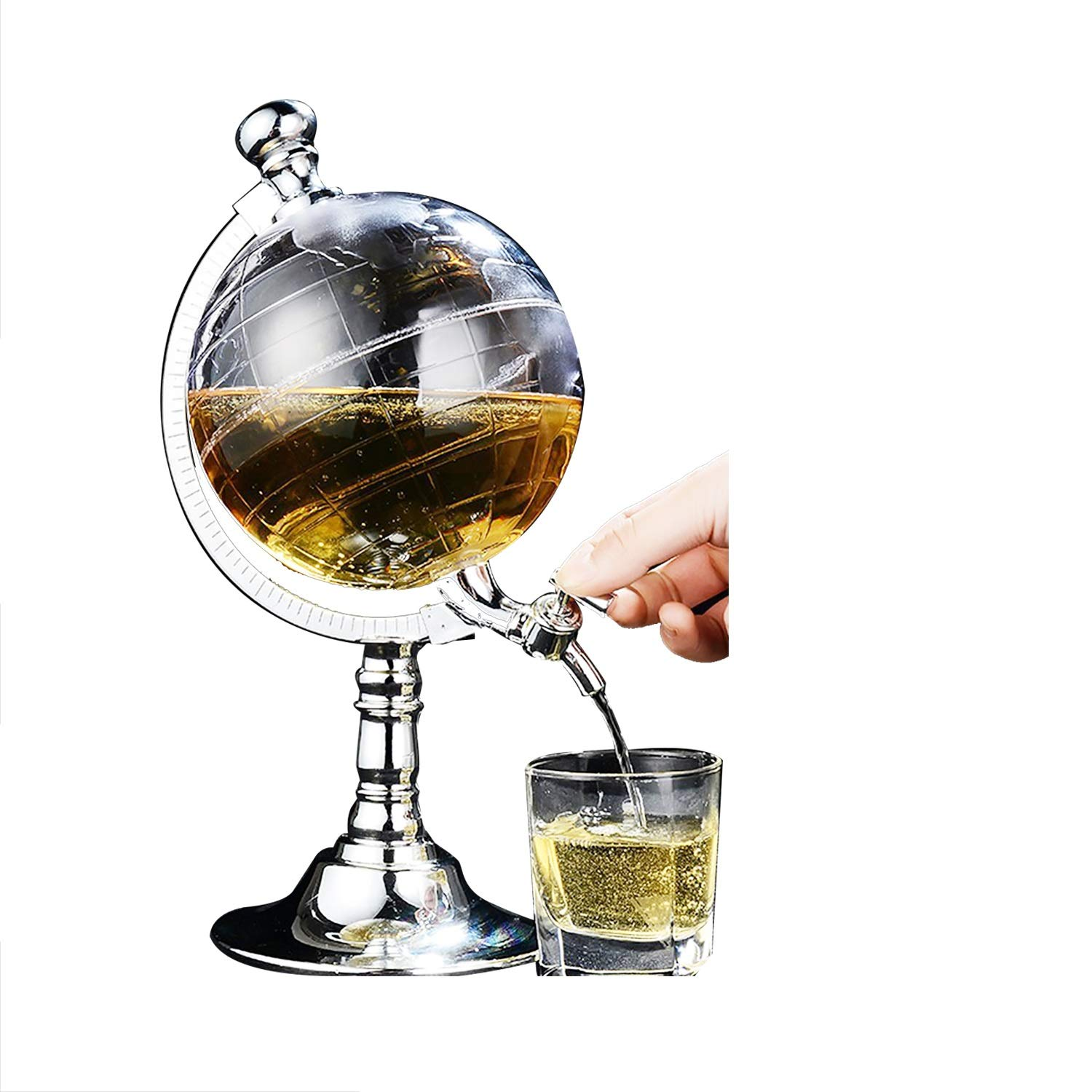 YaeBrew Whiskey Decanter Globe - Liquor Decanter for Beer Mini Bar Accessories 52 OZ Liquid Drinking Separate Wine Tools Inverted Wine Rack Water Pump Dispenser Machine Gift 1500ml