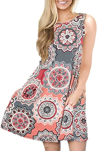 Women Fashion Dress,WONdere Womens Summer Loose Sleeveless O-Neck Casual Print Dropped Dress