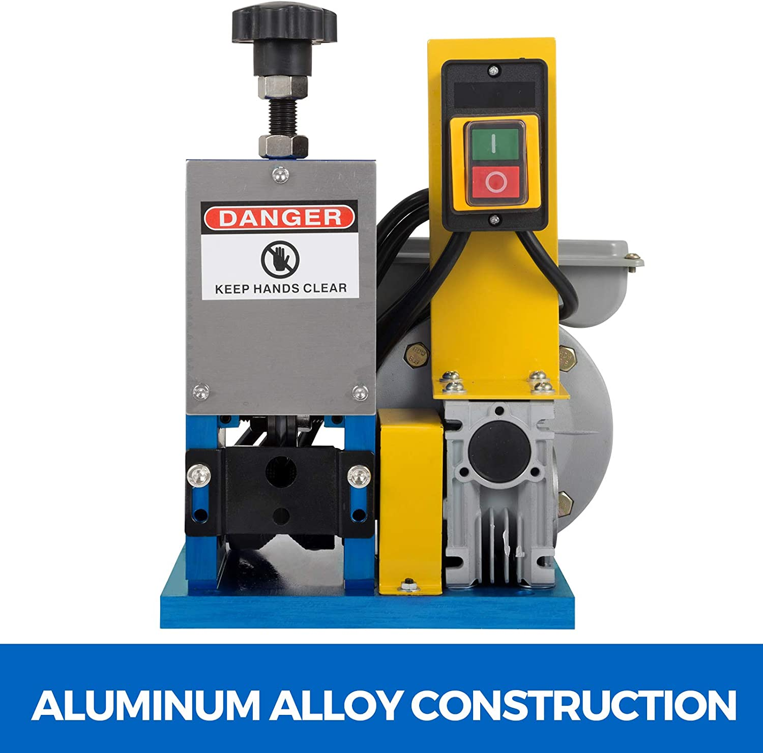 Dark Blue//Cutter Blade Happybuy Cable Wire Stripping Machine 1.5-25mm Dark Blue Wire Stripping Machine 1 Channels Tool Manual Hand Cranked Industrial Wire Stripping Recycle Cutter Blade