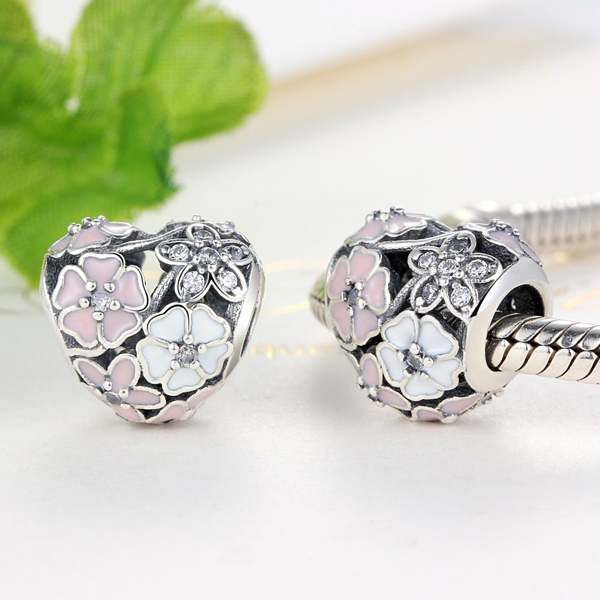 BAMOER 925 Sterling Silver Poetic Daisy Flower Heart Enameled CZ Solid Charms Beads for DIY Bracelet Accessories by BAMOER (Image #4)