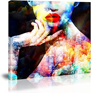 Red Lip Women Wall Art Decor Black and White Modern Abstract Artwork Canvas Painting Prints Pictures Home Decor for Bathroom Living Room Dining Room Bedroom