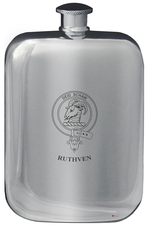 Ruthven Crête de famille de conception de poche Flasque en étain poli 6 oz Arrondi I Luv Ltd