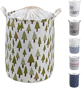 HeyToo 17.7in Drawstring Waterproof Foldable Laundry Hamper,Dirty Clothes Laundry Basket,Handle Linen Bin Storage Organizer for Toy Collection Tree