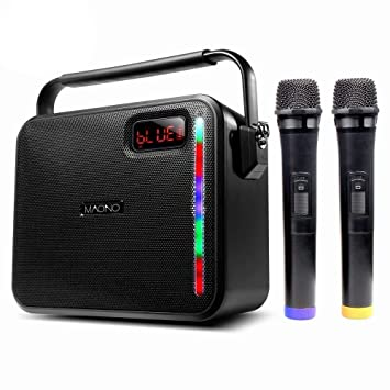 30 W Maono Wireless Pa System With Two Wireless Handheld Microphones Karaoke Machine, Fm Radio/Aux In Mode/Usb Input/Tf Card/Remote Control/Led Bar For Adults Kids (Black) by Maono