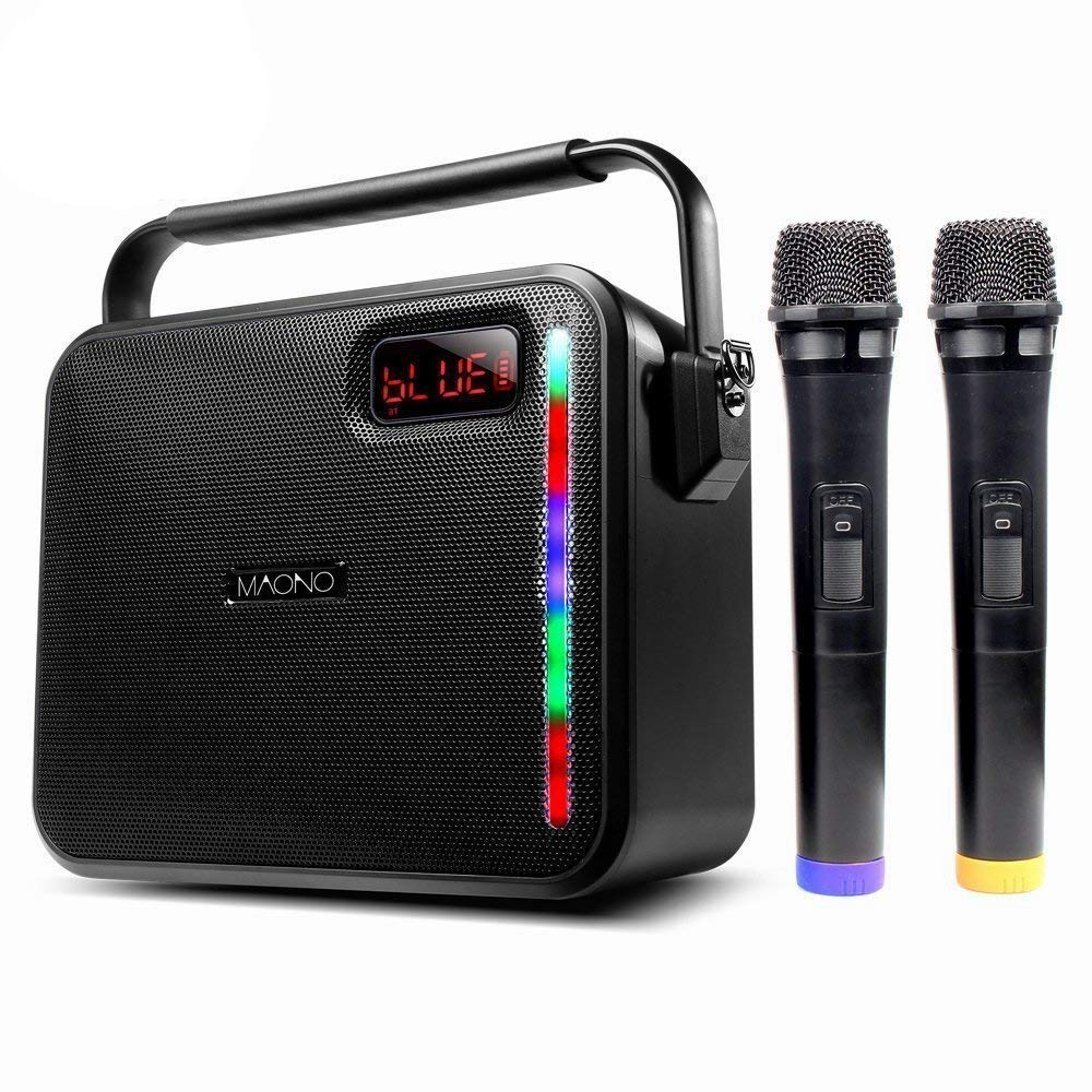 30W MAONO Wireless PA system with Two Wireless Handheld Microphones Karaoke Machine, FM Radio/AUX-IN Mode/USB Input/TF Card/Remote Control/LED Bar for Adults Kids (Black)