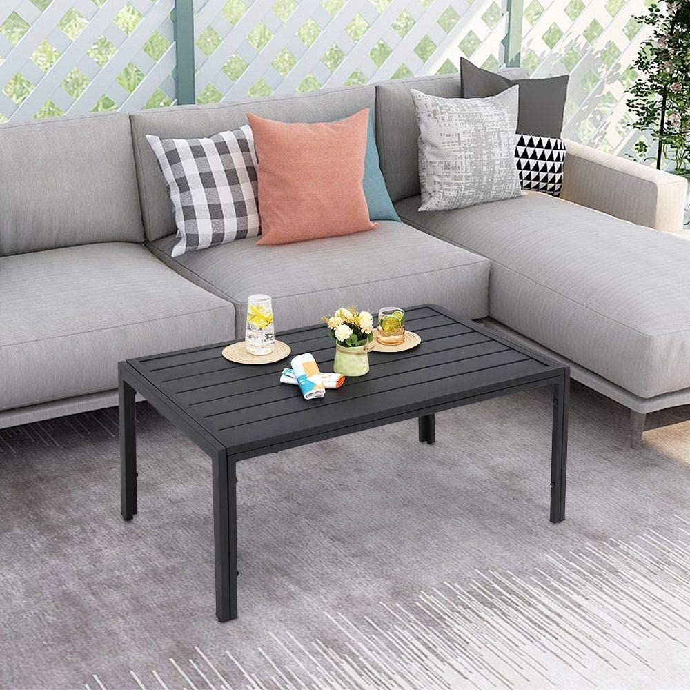 Poolside Black Office Courtyard Backyard Library Patio Steel Slat Rectangle Table ABBLE Indoor Outdoor Coffee Table Living Room Caf/é for Bedroom
