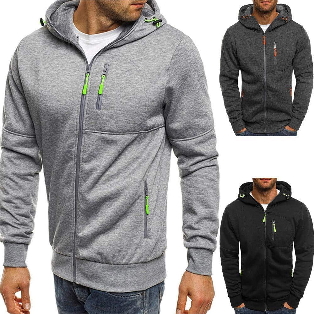 SoeHir Mens Cozy Coats and Jackets Autum Winter Long Sleeve Zipper Patchwork Hooded Workout Running Sweatshirt Cardigan Tops