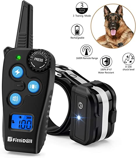 1800FT Electric Dog Shock Collar Portable Outdoor Waterproof Remote Pet Training