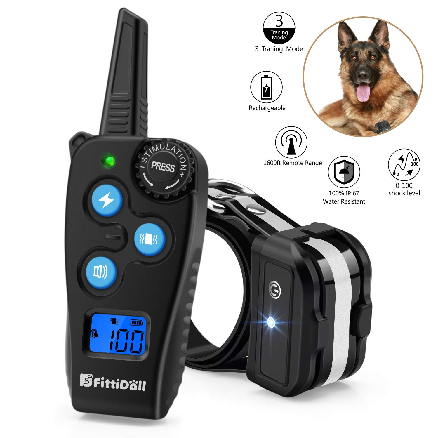 Fittidoll Dog Training Collar, Rechargeable Dog Shock Collar with Beep, Vibration and 1~100 Shock Levels Dog Training Set, 60% Longer Remote Range, 100% Waterproof Training Collar for Dogs Small Mediu by Fittidoll