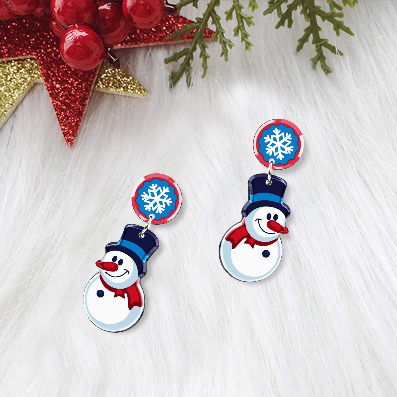 UHIBROS Women Christmas Jewelry Snow Man Dangle Drop Stud Earrings Ear Hook Drop Earring Xmas Gift For Teen Girls