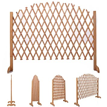 JAXPETY Expanding Portable Fence Wooden Screen Pet Gate Kid Safety Dog Lawn  Patio Garden