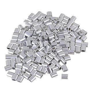 cnbtr 2mm Forma Ovalada plateado bucle de prensa aluminio cuerda de alambre clip de cuerda de alambre abrazaderas de mangas para M2Pack de 200