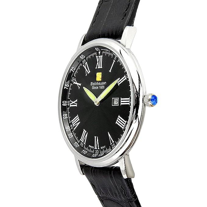 Steinhausen Herren Altdorf Schweizer Quarz Edelstahl Schwarz Leder Uhr S0121 Armband- & Taschenuhren