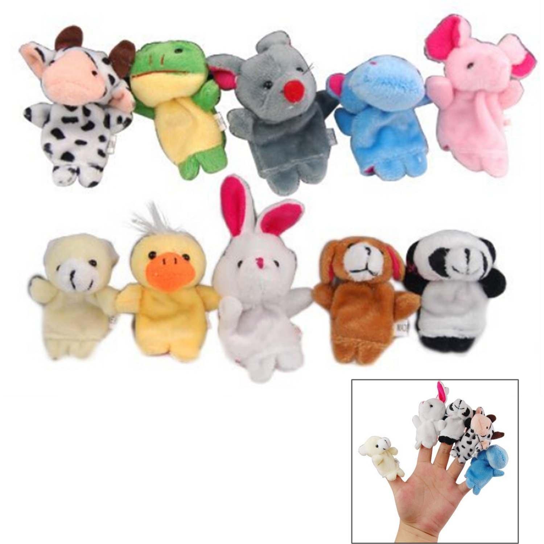 10pcs Cute Finger Animal Plush Puppet Play Game Learn Story Baby Toys Dolls Random Style Elisona