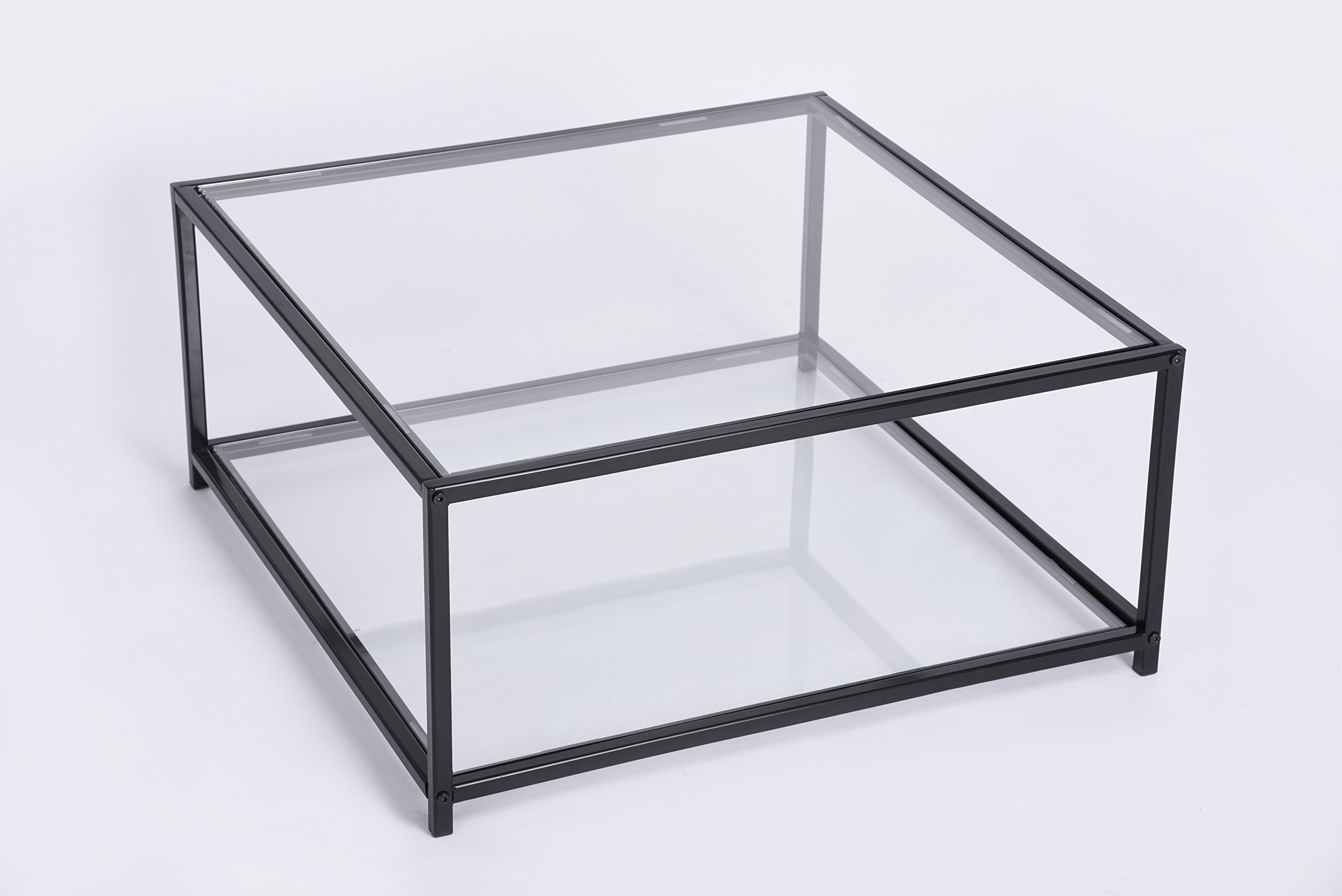Black Finish Frame Glass Top and Bottom Square Coffee Table by eHomeProducts (Image #1)