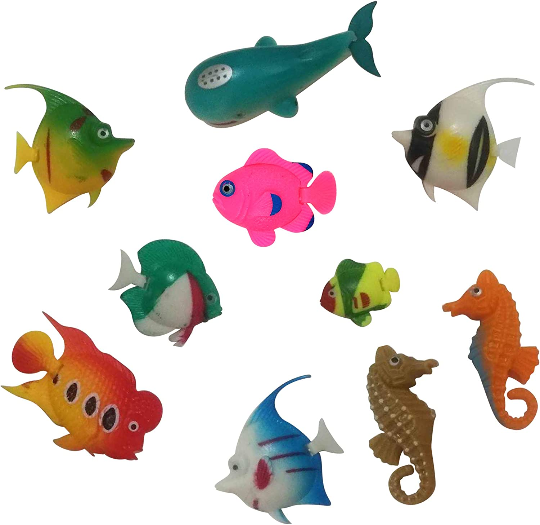 FANTASY FISH for Jellyfish Lamps – Set of 10 Fun Multicolored Fish for Jellyfish Lava Lights & Aquariums