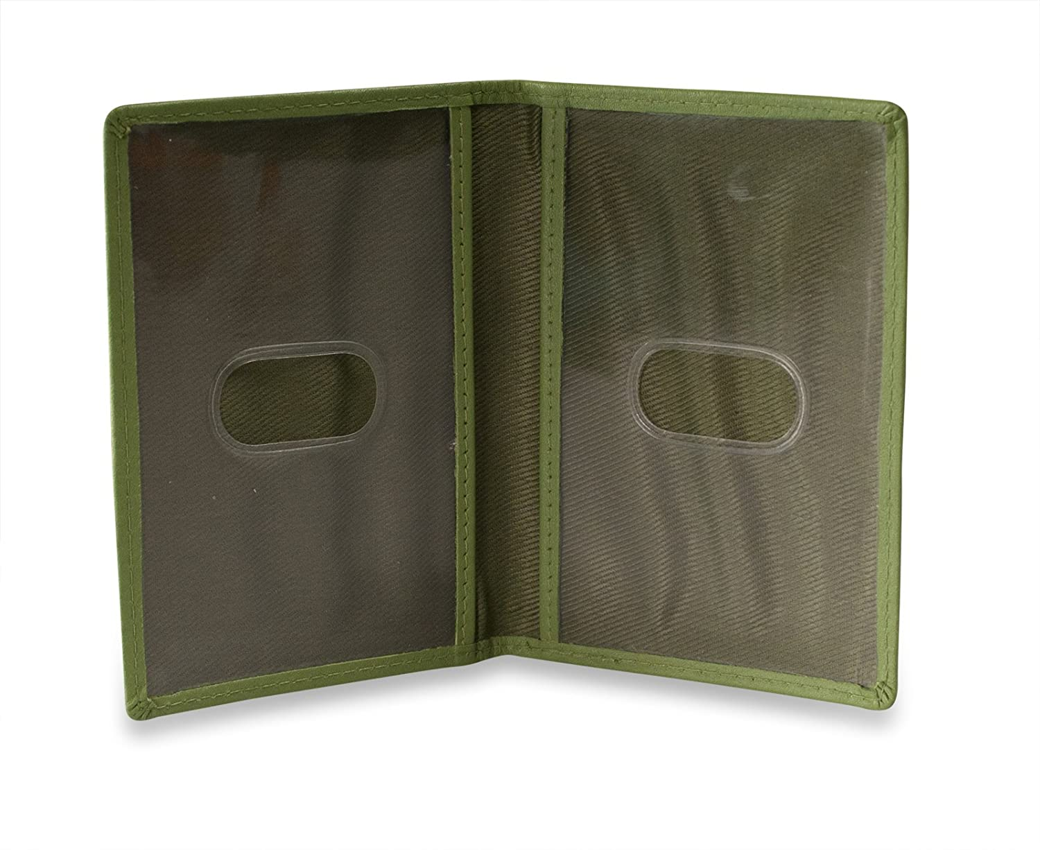 Brunhide Real Leather Travel Card Holder Wallet for Bus Pass Rail ID # 236-300, Garden Green #236-300