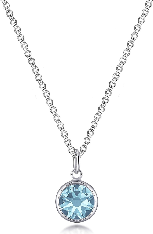 Aquamarine Birthstone Necklace Created with Austrian Crystals Philip Jones March