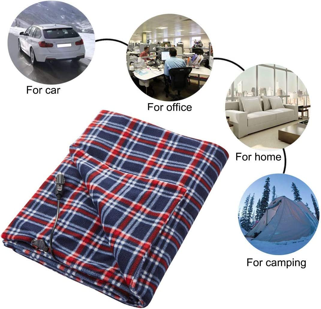 Home Car Use Red//Blue, 58x41 Office Big Hippo Electric Car Blanket 12-Volt Polar Fleece Heated Travel Blanket Throw -Heating Blanket Great for Cold Weather Camping