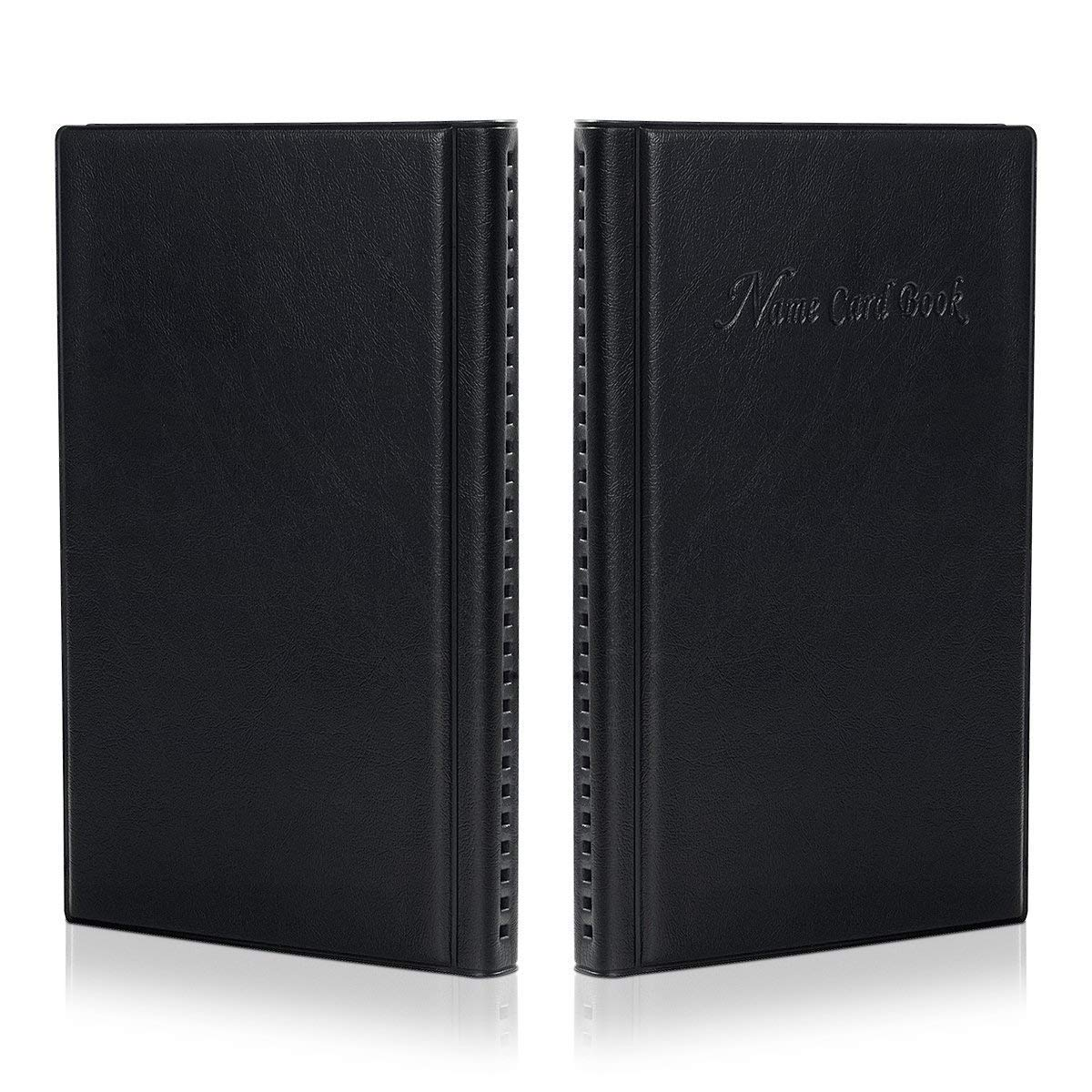 PU Leather Hamosky Business Card Holder Organizer Book 2 Pack Total for 300 Business Car