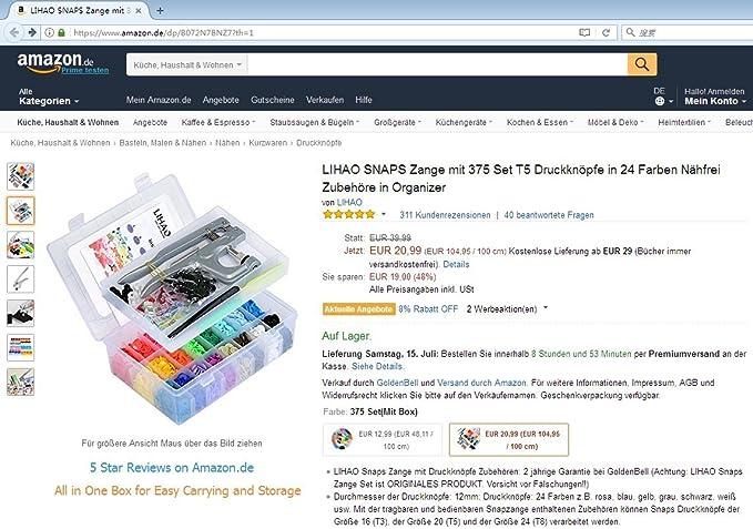 LIHAO Snap Pliers + 375 Set T5 Plastic Buttons Fastener + 12pcs ...