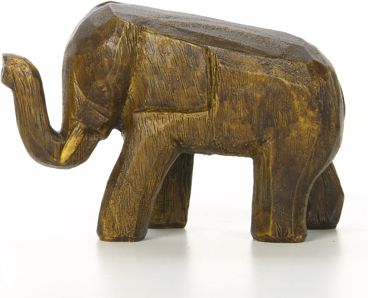 Hosley 4.7 Inch High Decorative Tabletop Faux Wood Elephant Brown. Ideal Gift for Wedding Home Party Favor Spa Reiki, Meditation Bathroom Settings O9