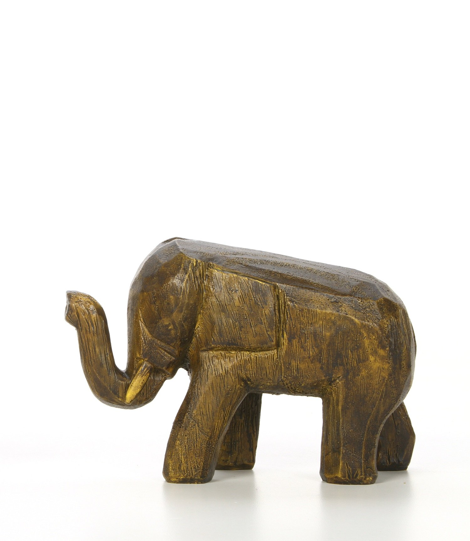 Hosley 4.7'' High, Decorative Tabletop Faux Wood Elephant, Brown. Ideal Gift for Wedding, Home, Party Favor, Spa, Reiki, Meditation, Bathroom Settings O9