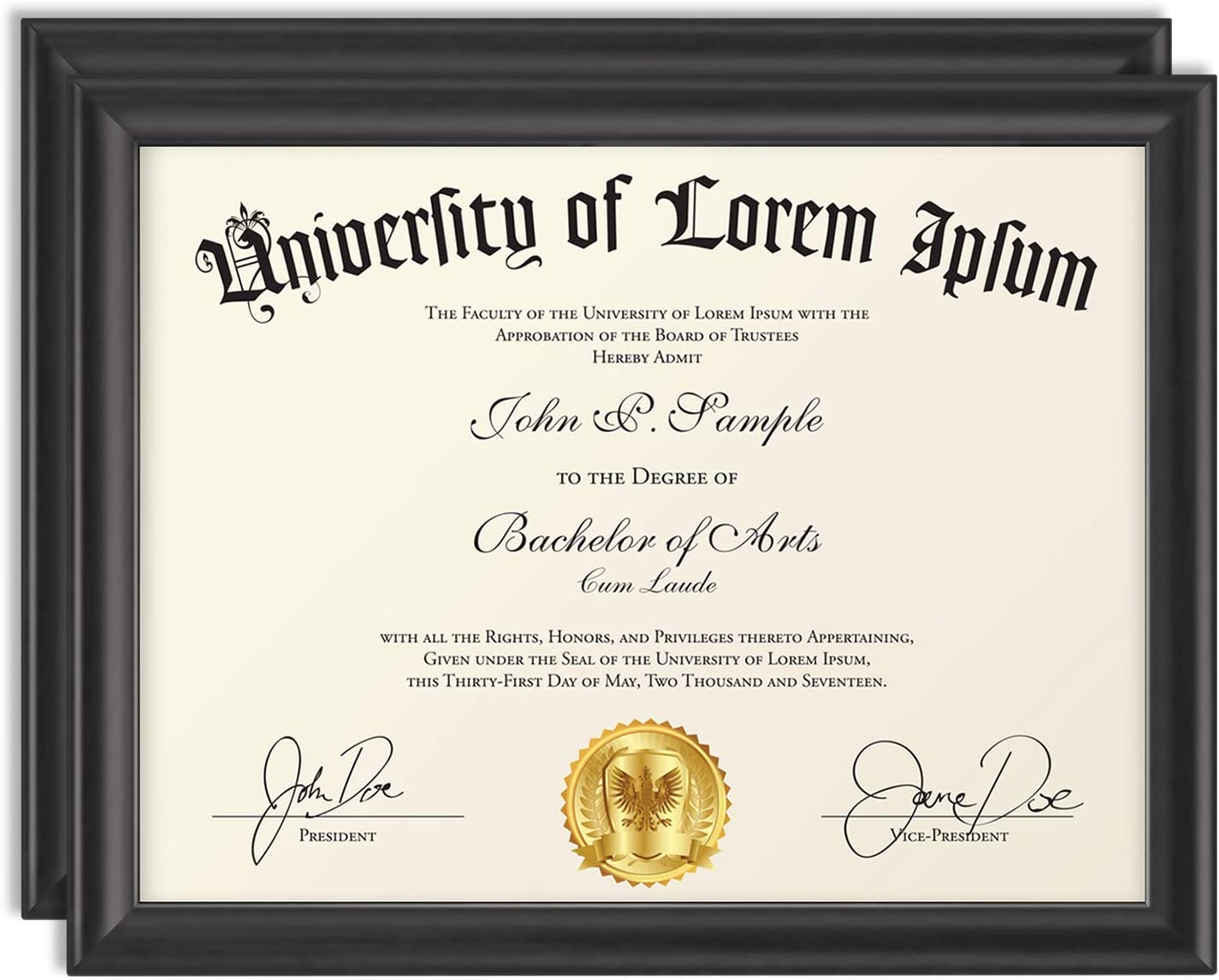 Icona Bay 8.5x11 Diploma Frame (2 Pack, Black), Certificate Frame, Document Frame, Composite Wood Frame for Walls or Tables, Set of 2 Lakeland Collection