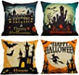 HOSL PW01 4-Pack Happy Halloween Square Decorative Throw Pillow Case Cushion Cover Bat Pumpkin