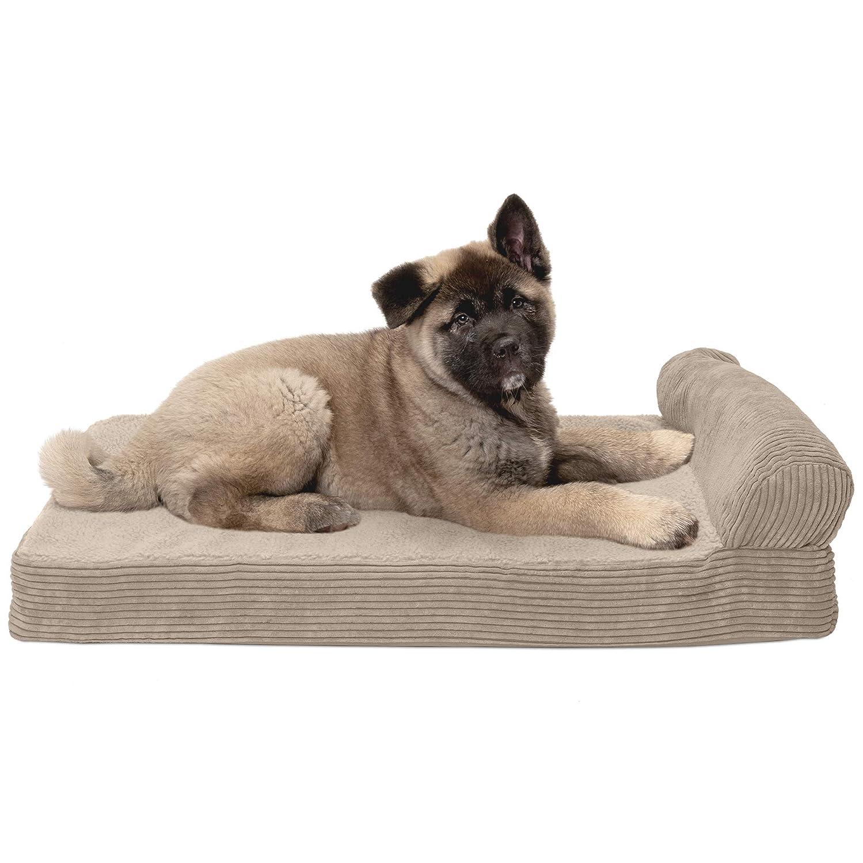 FurHaven Pet Dog Bed   Cooling Gel Memory Foam Orthopedic Faux Fleece & Corduroy Lounge Pet Bed for Dogs & Cats, Sandstone, Medium