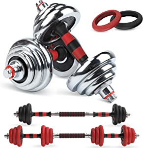 LEADNOVO Adjustable Weights Dumbbells Barbell Set, 44Lbs/20KG 3-in-1 Cast Iron Free Weights Dumbbells Set with Connecting Rod for Home, Gym, Office Exercise Training