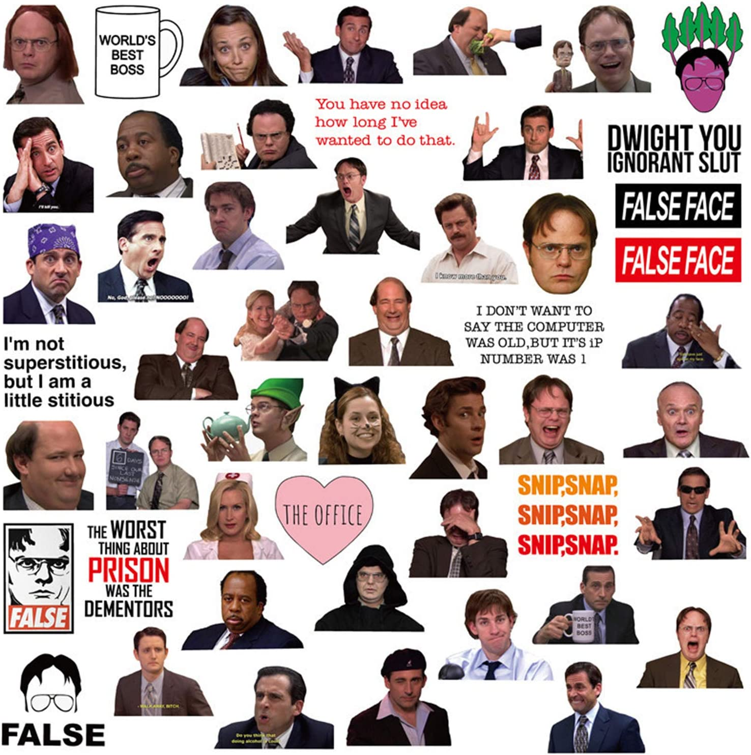 The Office Stickers for Laptop and Water Bottles,Waterproof Durable Trendy Vinyl Laptop Decal Stickers Pack for Teens, Water Bottles, Computer, Travel Case(50PCS The Office)