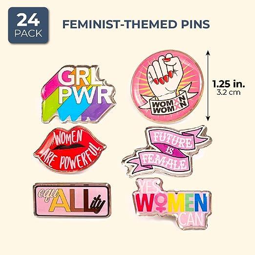 Blue Panda Unique Feminist Pins - Pack de 24 alfileres para mochila: Amazon.es: Salud y cuidado personal