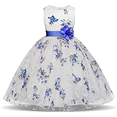 a081a213c0e NNJXD Girl Pageant Flowers Printed Sleeveless Tulle Dress Size (120) 3-4  Years