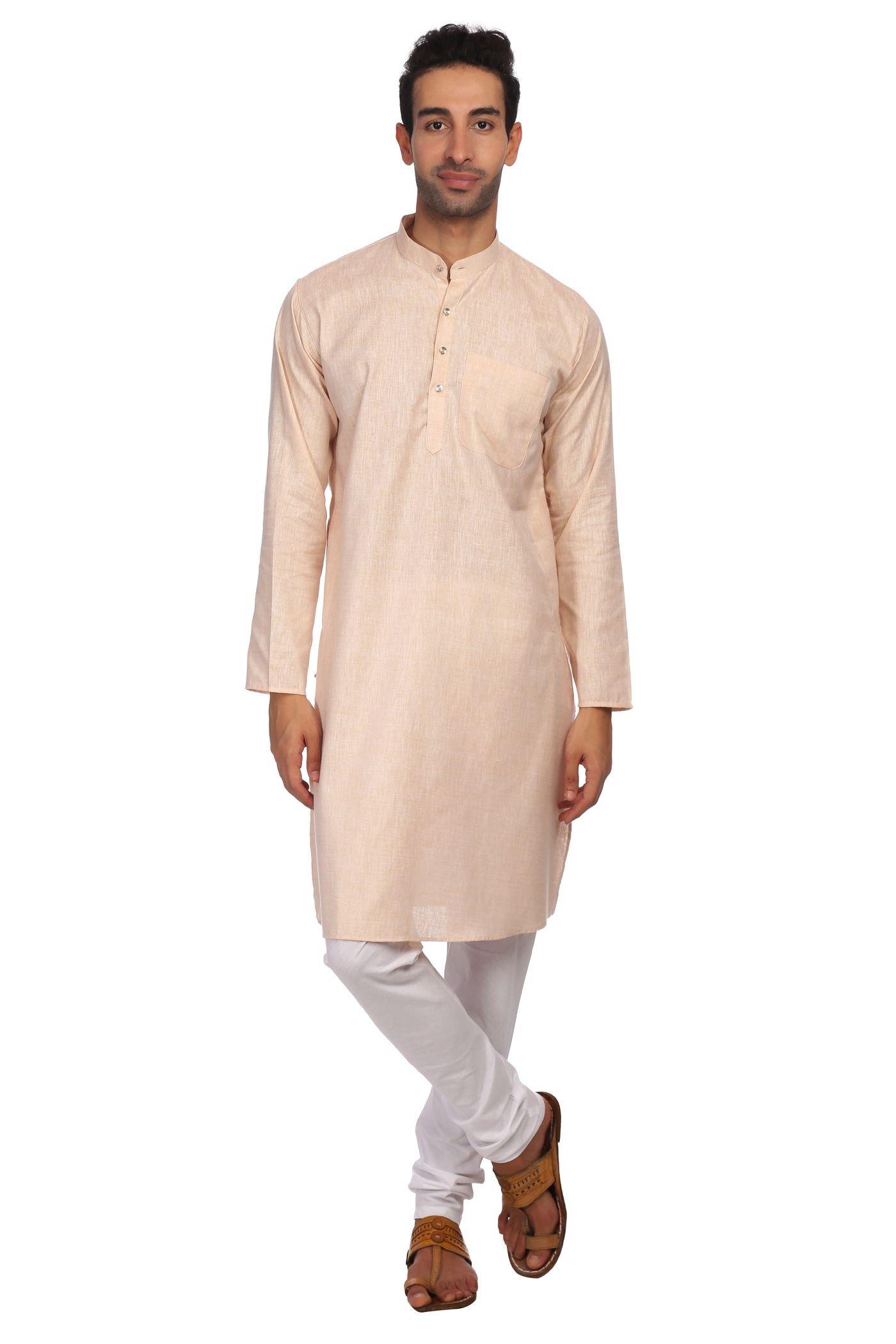 WINTAGE Men's Cotton Rich Tailored Fit Party/Festive Indian Kurta Pajama Pyjama Sleep Sets : Orange, Large
