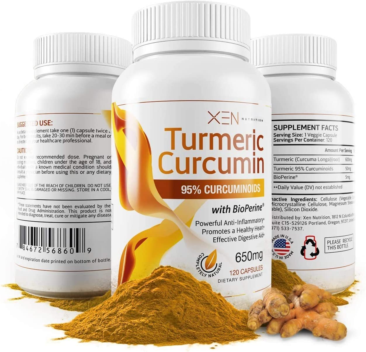 Turmeric Curcumin w BioPerine – 95 , Highest Grade – 2 Month Supply – 650mg – 120 Caps – Xen Nutrition – Anti-inflammatory Herbal Supplement – Digestive Aid, Joint Pain Relief, Organic Antioxidant