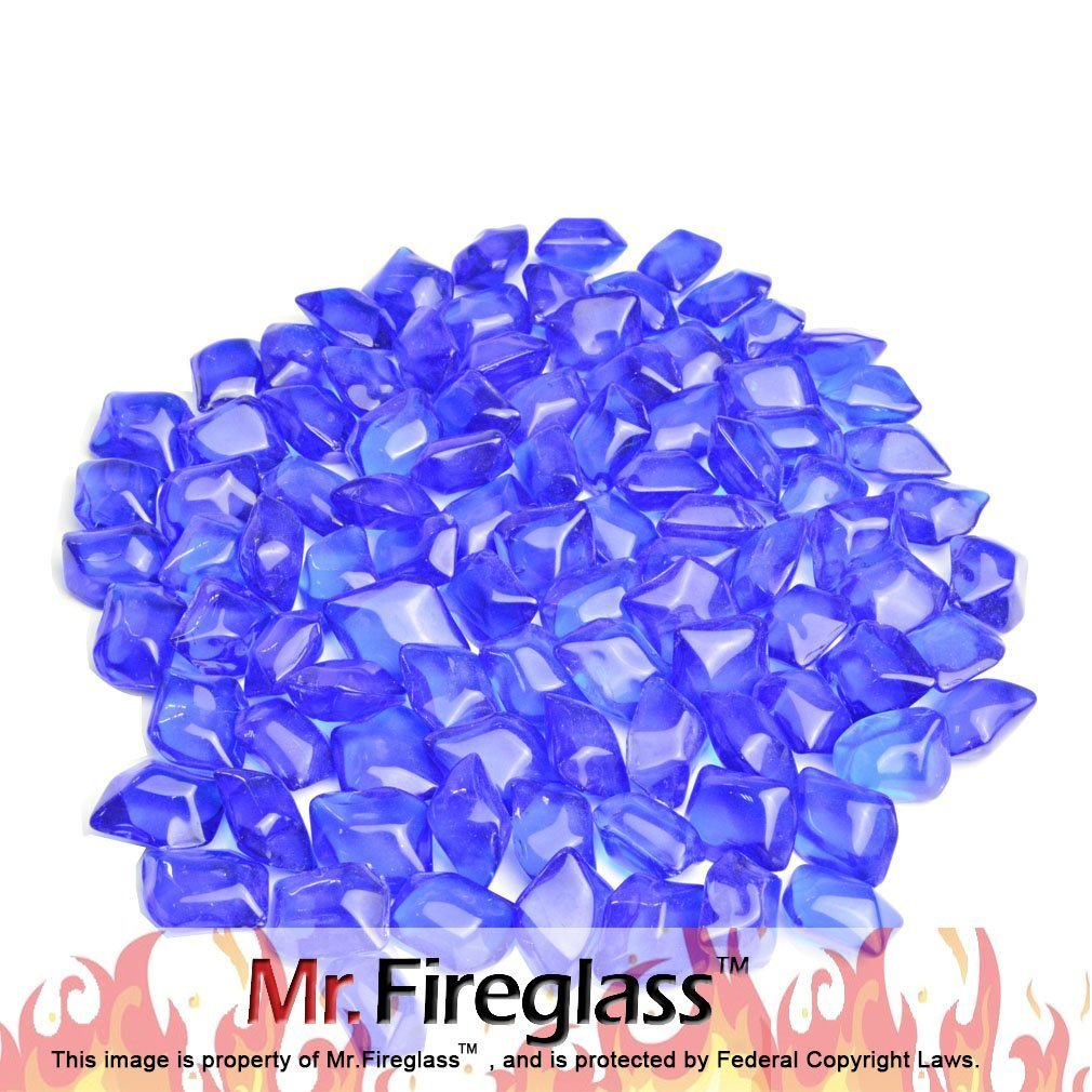 Mr. Fireglass 10 Pounds Fire Glass for Natural or Propane Fire Pit Fireplace Gas Log Sets,1/2-Inch, Royal Blue